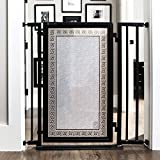 Fusion Gate for Baby & Dogs with Greek Key Art Screen Design (Black, 32'' - 36'')