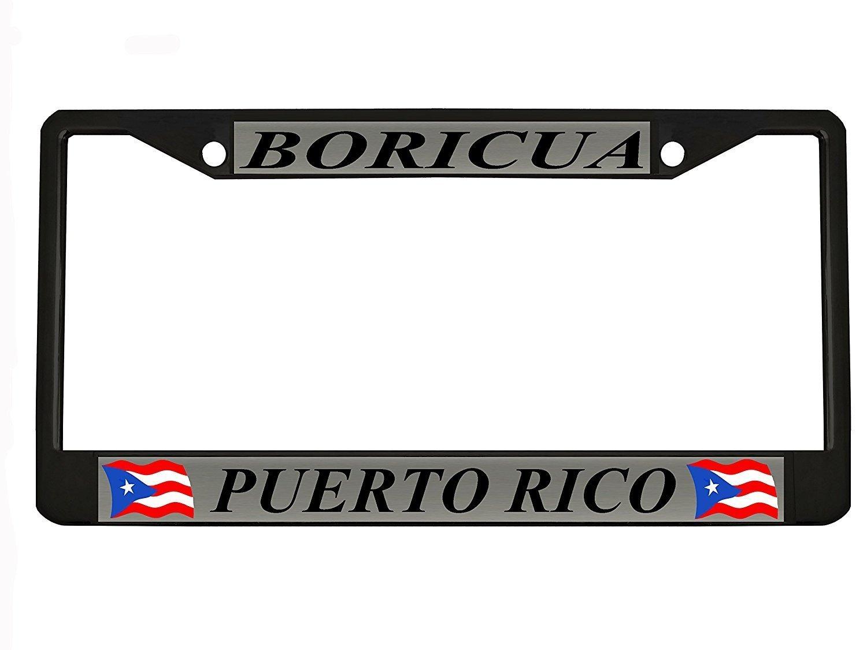 Car Tag Frame Car Boricua Puerto Rico Black Metal Auto License Plate Frame Elvira Jasper