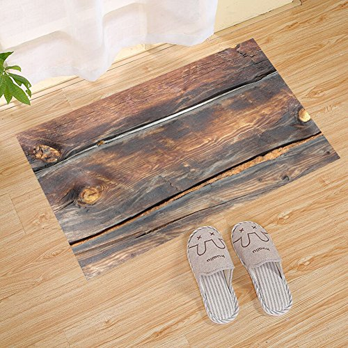 FANNEE Wood Plank Texture Background Backdrop Large Doormat, Brown, Front Door Mat | Stylish Hand Made Recycled Plastic Poly Timber Slats - Eco-Friendly Outdoor Entrance Patio Garage Entrance ()