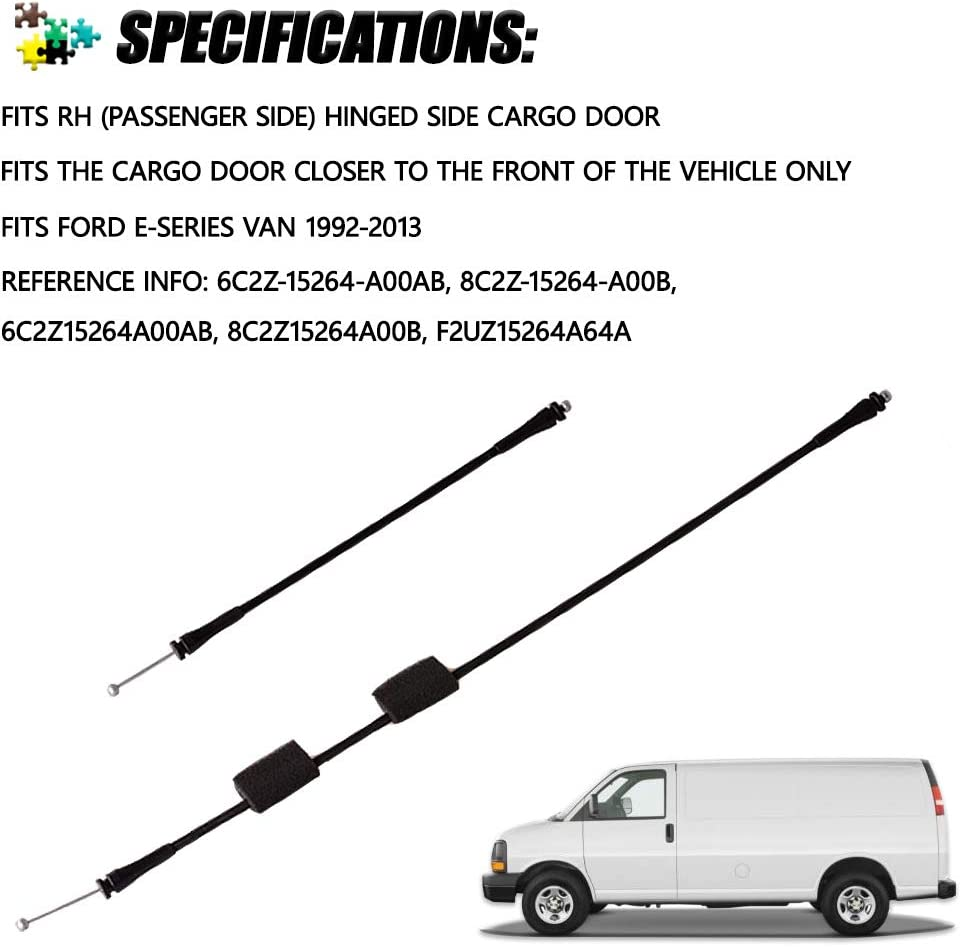 Premium New Replacement unikpas 8C2Z15431A02C Door Latch Release Cable Fits for Ford E-150 E-250 E-350 E-450 E-550 Econoline 1992-2013 Rear Right Side Replacement Part Replace OE 924-351