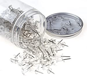 200 PCS Standard Clear Thumb Tacks Steel Sharp Point and Clear Plastic Head Push Pins for Bulletin Board, Fabric Marking, Crafts and Office Organization