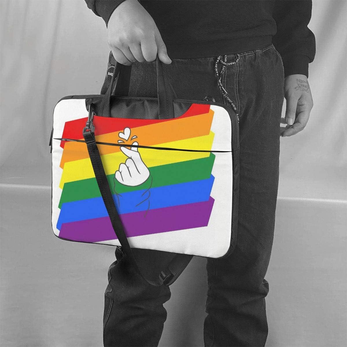 BTS Love Laptop Case,Fashion MacBook Shoulder Bag,Compatible Briefcase Sleeve with Removable Belt Versatile Canvas Notebook Sleeve with 2 Outer Pocket 15.6 Inch