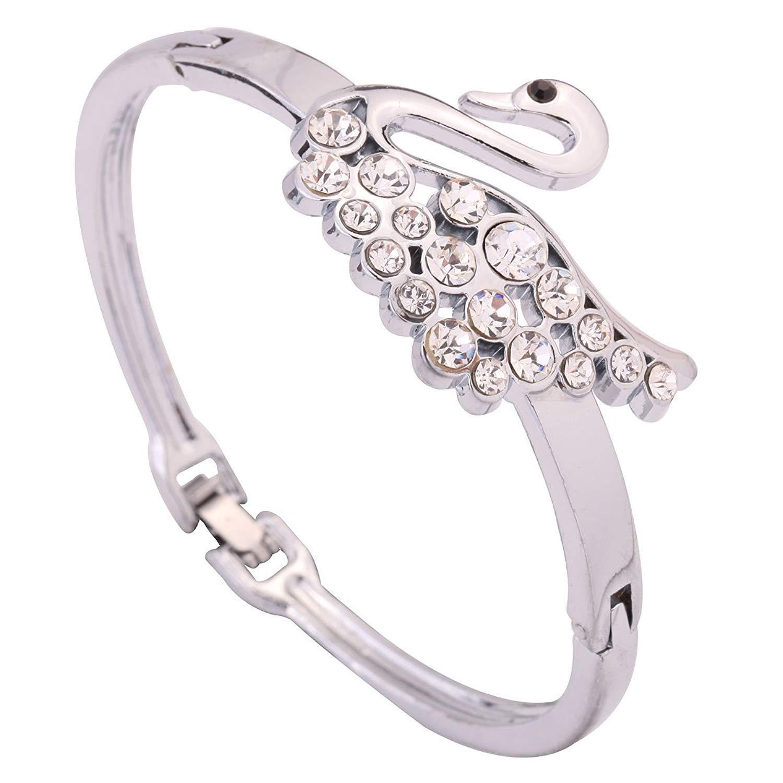 DVANIS Elegant Silver Plated Alloy Slender Swan Carve Shining Sparkling Crystal Bracelet Bangle