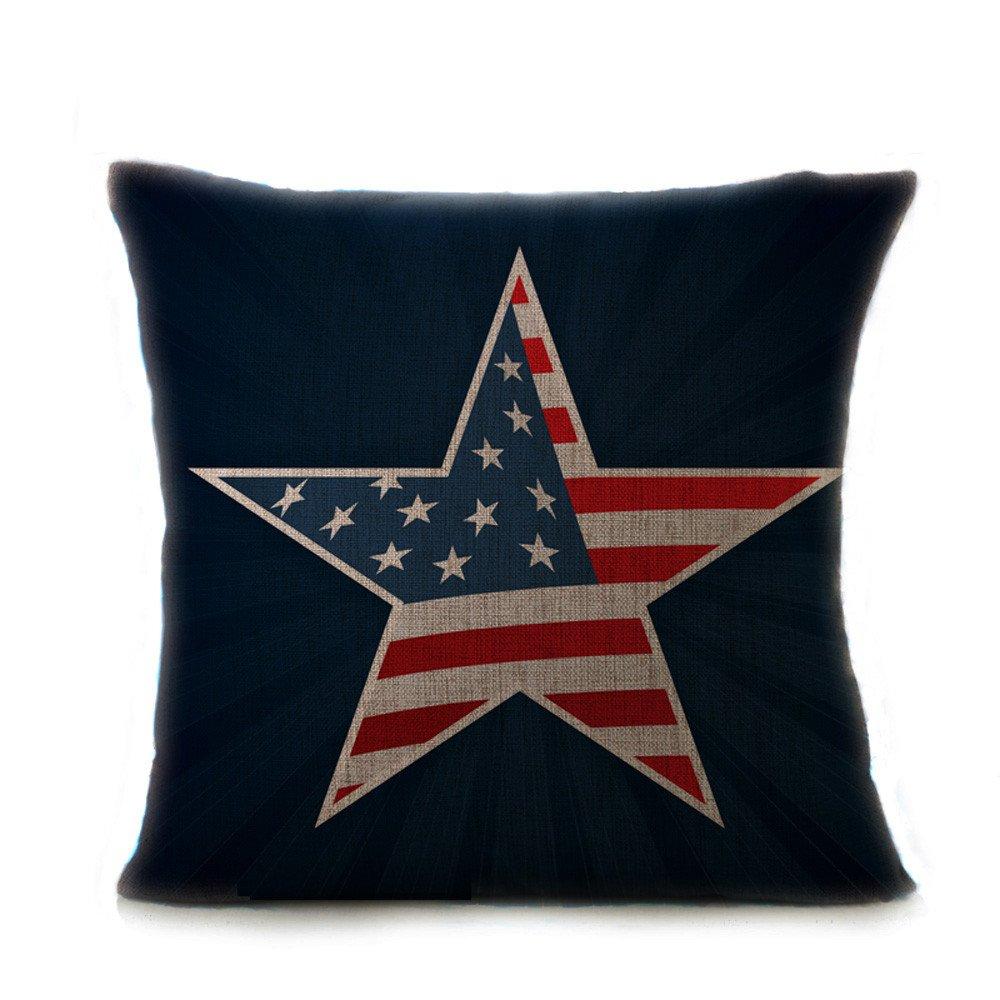 Pgojuni Vintage American Flag Pillow Cases Cotton Linen Retro Cushion Cover Pillow Case for Sofa/Car/Bed 1pc (F)