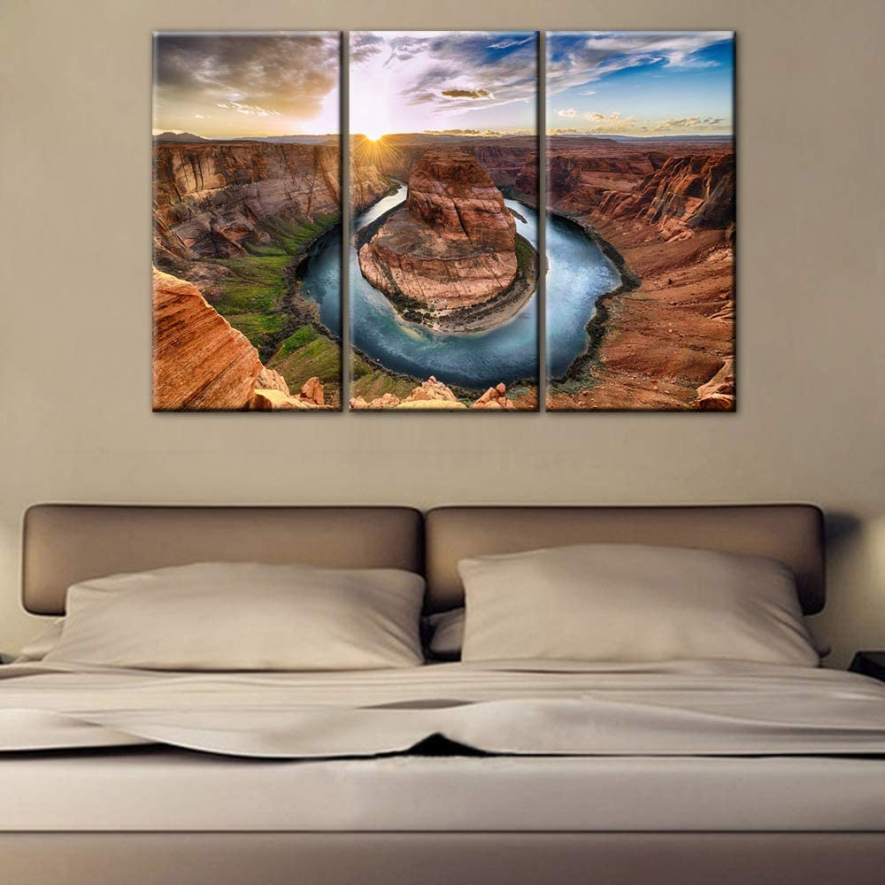 Sunset moment at Horseshoe Wall Art for Bedroom Colorado River Paintings 3 Panel Canvas Wall Art Native American Landscape Picture Modern Artwork Home Decor for Living Room Giclee Framed (28''x42'')