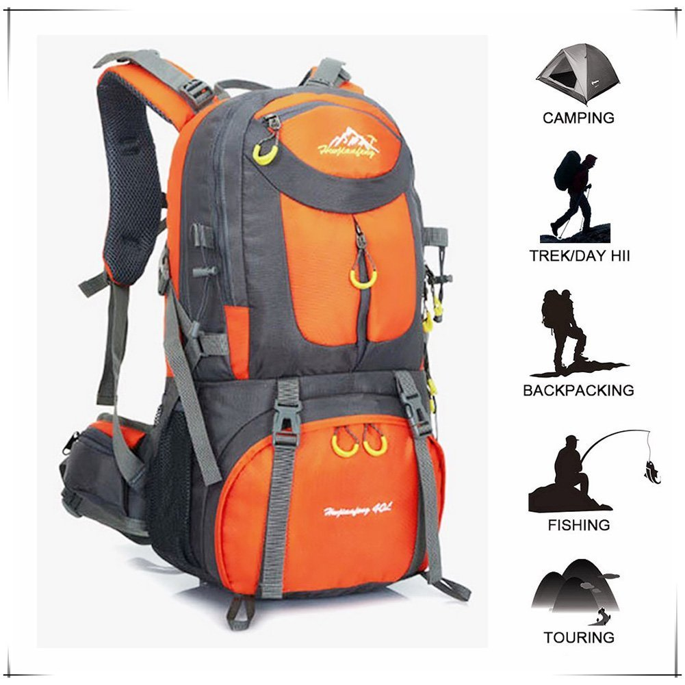Hiking Backpack Waterproof for Men Backpacking Bag Travel Outdoor Sport Daypack for Climbing Cycling Mountaineering Camping Fishing Skiing 50L(45+5) Orange UCSLIFE