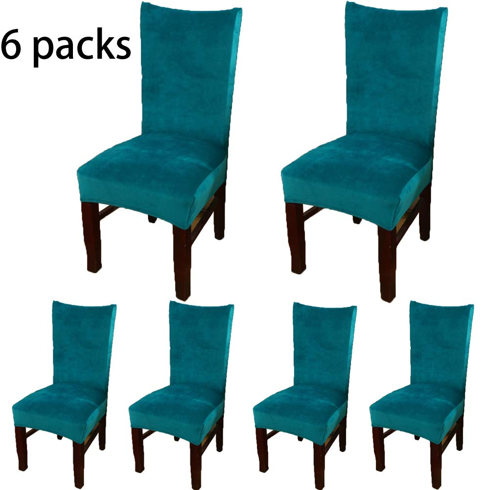 Buganda Stretch Velvet Fabric Removable Washable Short Dining Room Chair Protector Cover Slipcover Home Decor Set of 6 Peacock Green
