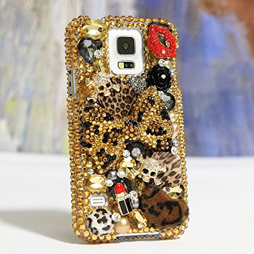 BlingAngels® Samsung Galaxy Note 4 Case Premium Quality Luxury Bling Case Cover Faceplate Swarovski Crystals Diamond Sparkle bedazzled jeweled Design Back Snap-on Hard Case (100% Handcrafted by BlingAngels) (Large Leopard Bow Design)