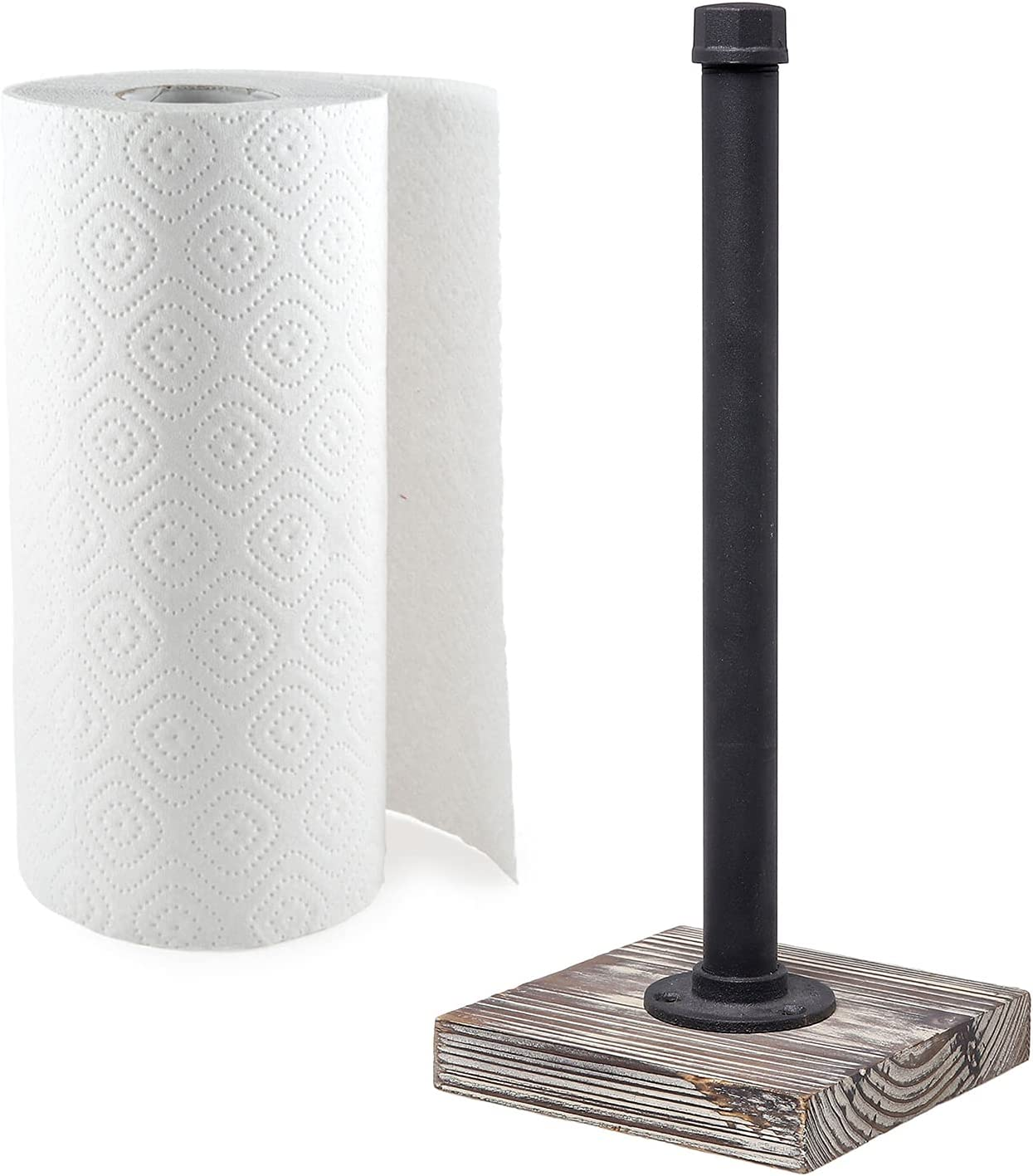 MyGift Industrial Pipe Design Paper Towel Roll Dispenser with Torched Wood Base
