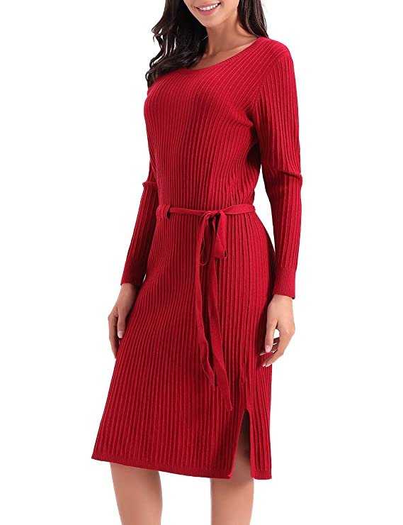 Women's Long Sleeve Vintage A-line Wool Midi Dress with Elastic Waist (Red, L)