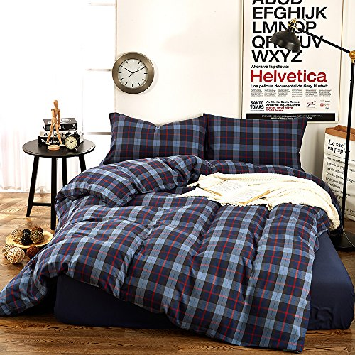 Blue Single Set (Plaid Flannel Twin Duvet Cover Set Kids Bedding Collection Luxury 3 Piece Blue Grid Printed Pattern Single Bed Duvet Cover Set Cotton- Lightweight Soft Velvet Boys Girls Comforter Duvet Cover,Twin)