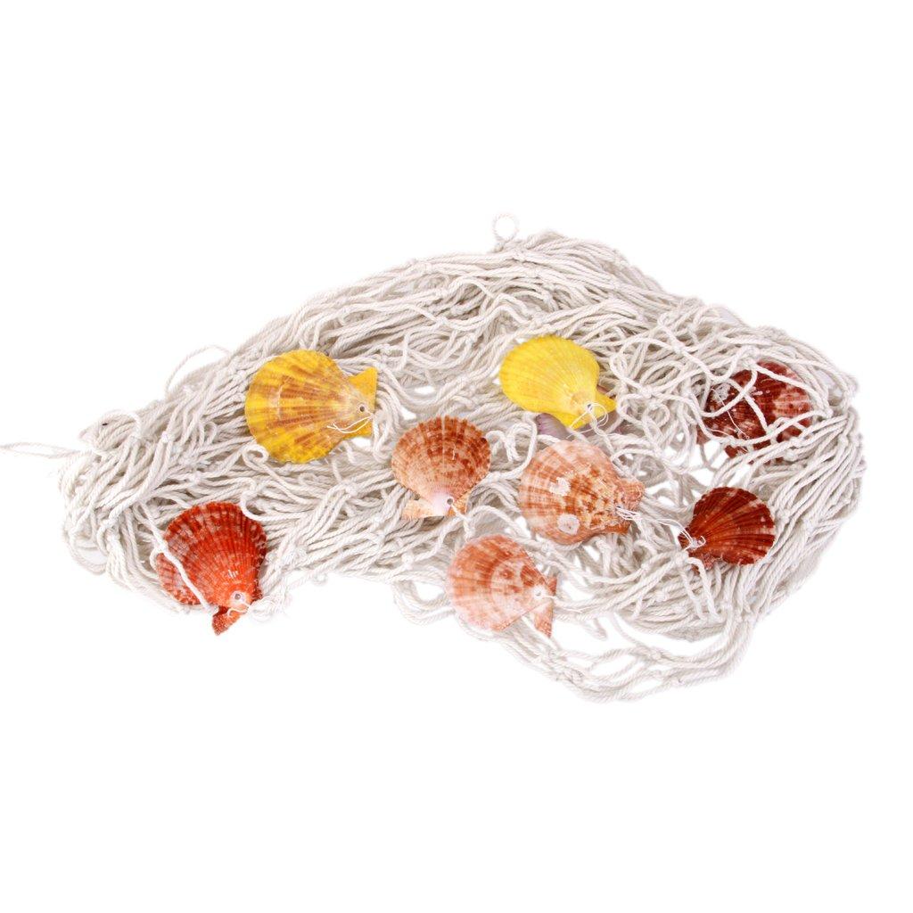 Rete Da Pesca Decorativa Netto Cottone Con Shell Addobbi Feste Casa - 2M x 1M Blu Generic