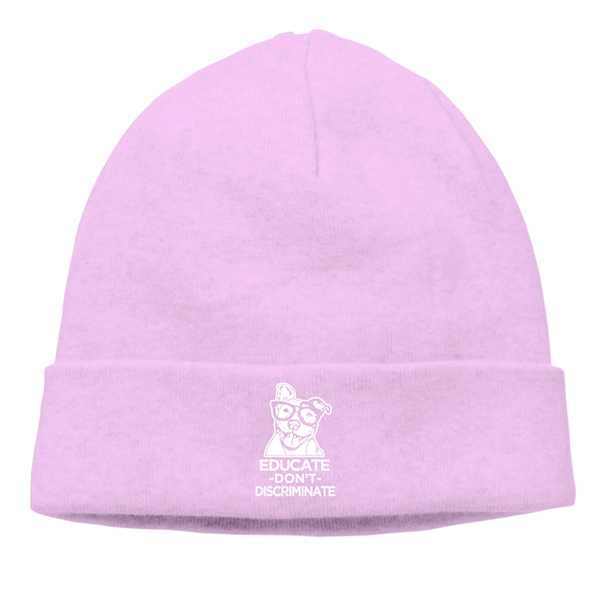 CgyOIUY-lop Beanie Hat Warm Hats Skull Cap Knitted Hat Educate Dont Discriminate Pitbull