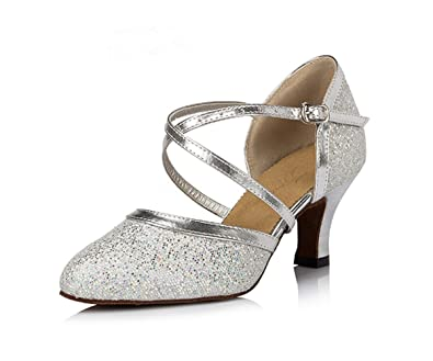 Miyoopark Women s Ankle Strap Glitter Buckle Silver Synthetic Ballroom  Salsa Latin Dance Shoes 4 ... b2fb78854898