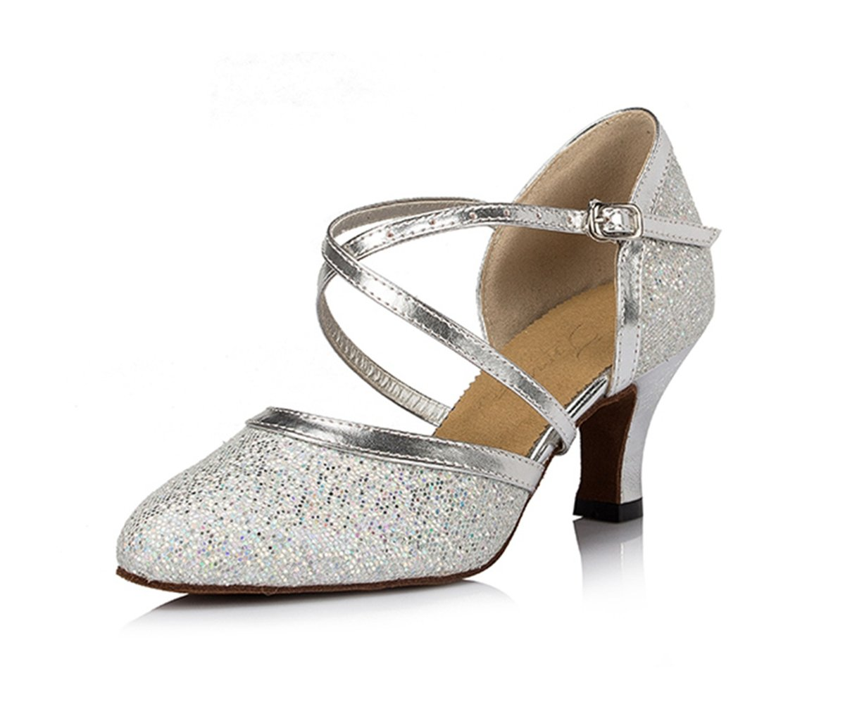 Miyoopark Women's Ankle Strap Glitter Buckle Silver Synthetic Ballroom Salsa Latin Dance Shoes 10 M US
