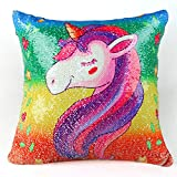 Unicorn Pillow with Reversible Sequins 16 inch x 16 inch *-* Bonus Pillow Included *-*