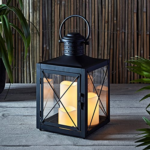 Lights4fun, Inc. Square Black Battery Operated Lantern with 3 Flameless LED Candles for Indoor Outdoor Use by Lights4fun, Inc.