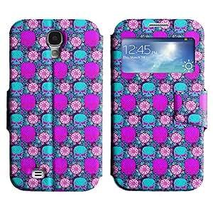 LEOCASE Cráneo Violet Funda Carcasa Cuero Tapa Case Para Samsung Galaxy S4 I9500 No.1002312