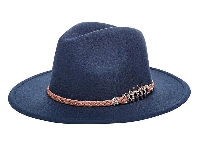 485ae2ff1c229 Beanie Bell Hat Señoras Otoño Invierno De Sombrero Fieltro Enrollable Especial  Estilo con Sombrerera Acolchada Sombrero De Fieltro Gorras (Color   Blau