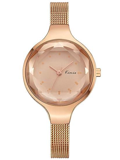 Alienwork Reloj Mujer Relojes Acero Inoxidable Oro Rosa Analógicos Cuarzo Impermeable Clásico Elegante