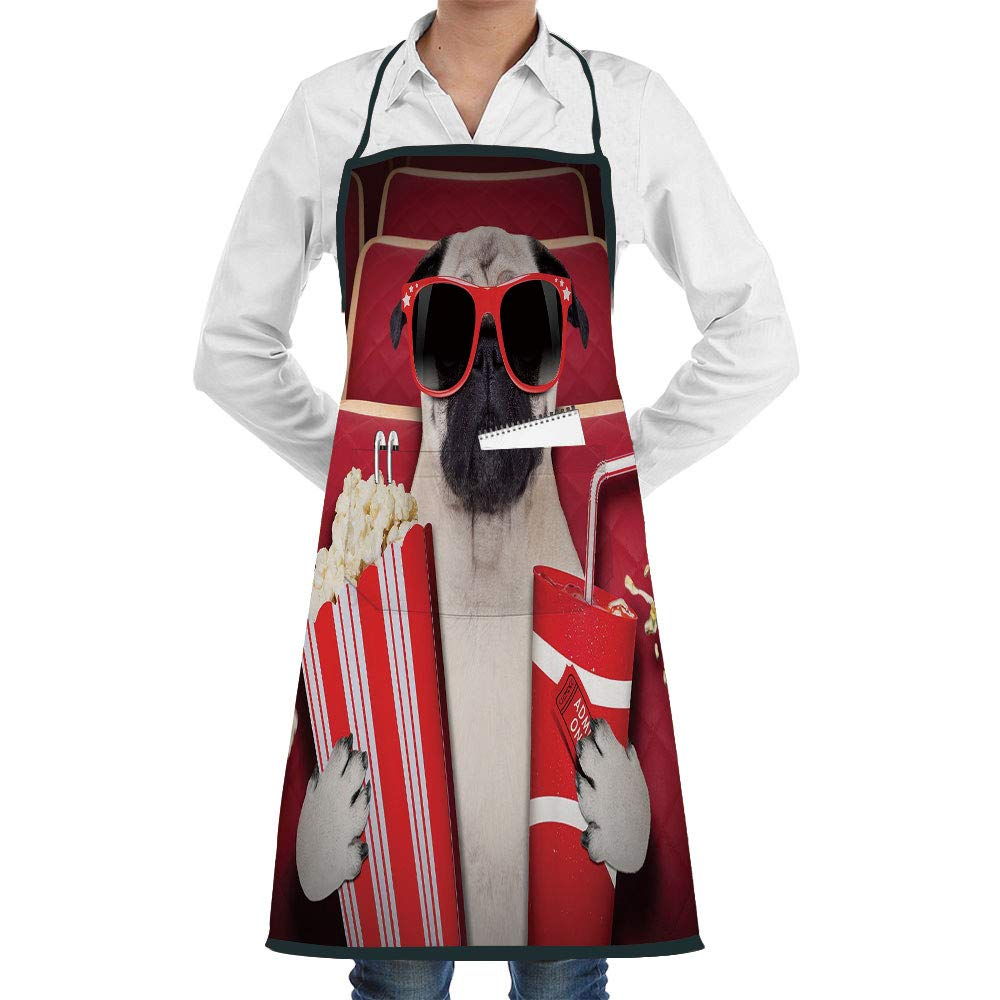 Apron Artist Overall,Bulk Aprons Adult Apron,Work Apron,Fully Adjustable,Machine Washabl,Apron with Pockets Sign with Both Paws Wearing Cool Black Sunglasses Customizable apron,Cross Back Apron