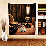 Gzhihine Custom tapestry Western Decor Tapestry Mystic Night in Hotel Room Dallas with Lantern Nightstand Table and Poker Card for Bedroom Living Room Dorm Brown