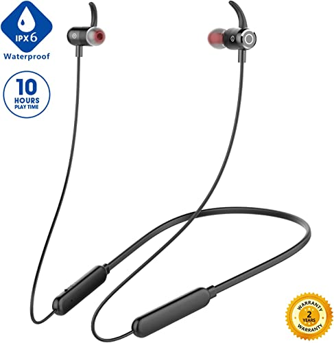 Newest 2020 Bluetooth Headphones,Premium 10Hrs Playtime Neckband Wireless 5.0 Earbuds Sport Magnetic Earphones w Mic,Waterproof IPX6,Deep Bass Earbuds for Workout Running Gym,Noise Cancelling Black