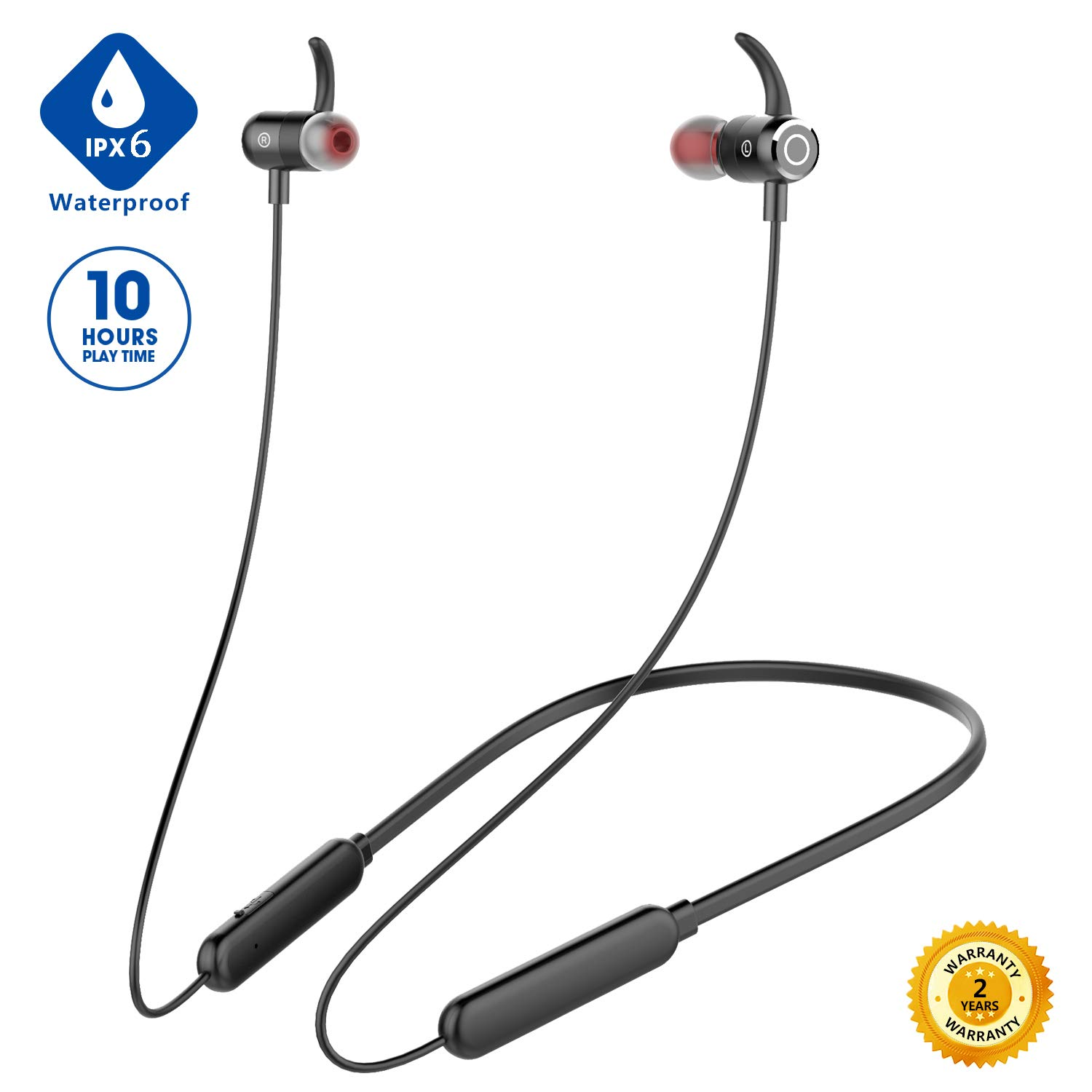 [Newest 2020]Bluetooth Headphones,Premium 10Hrs Playtime Neckband Wireless 5.0 Earbuds Sport Magnetic Earphones w/Mic,Waterproof IPX6,Deep Bass Earbuds for Workout Running Gym,Noise Cancelling (Black)