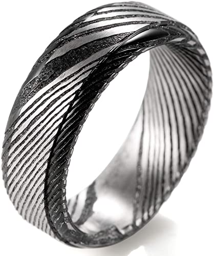 Men/'s Silver or Black Stainless Steel Wood Effect 8mm Wedding Band Ring