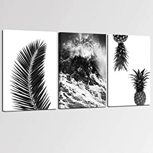 sechars - 3 Piece Black and White Tropical Wall Art Hawaii Ocean Wave Palm Tree Leaf Pineapples Pictures Canvas Print for Modern Living Room Wall Decoration Gallery Wrap Ready to Hang