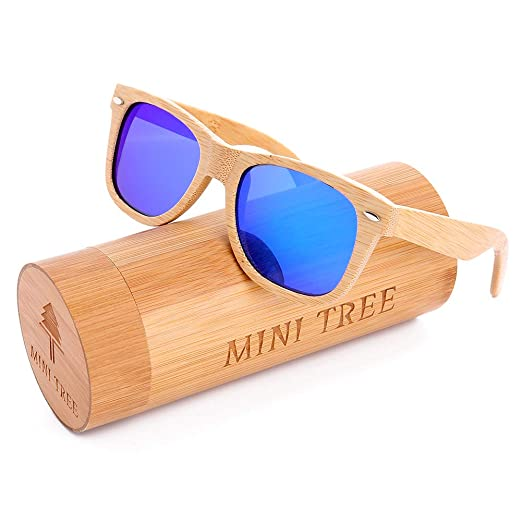 52f0040659 Mini Tree Polarized Handcraft Bamboo Sunglasses Wayfarer Vintage Shades For  Men and Women (Bamboo