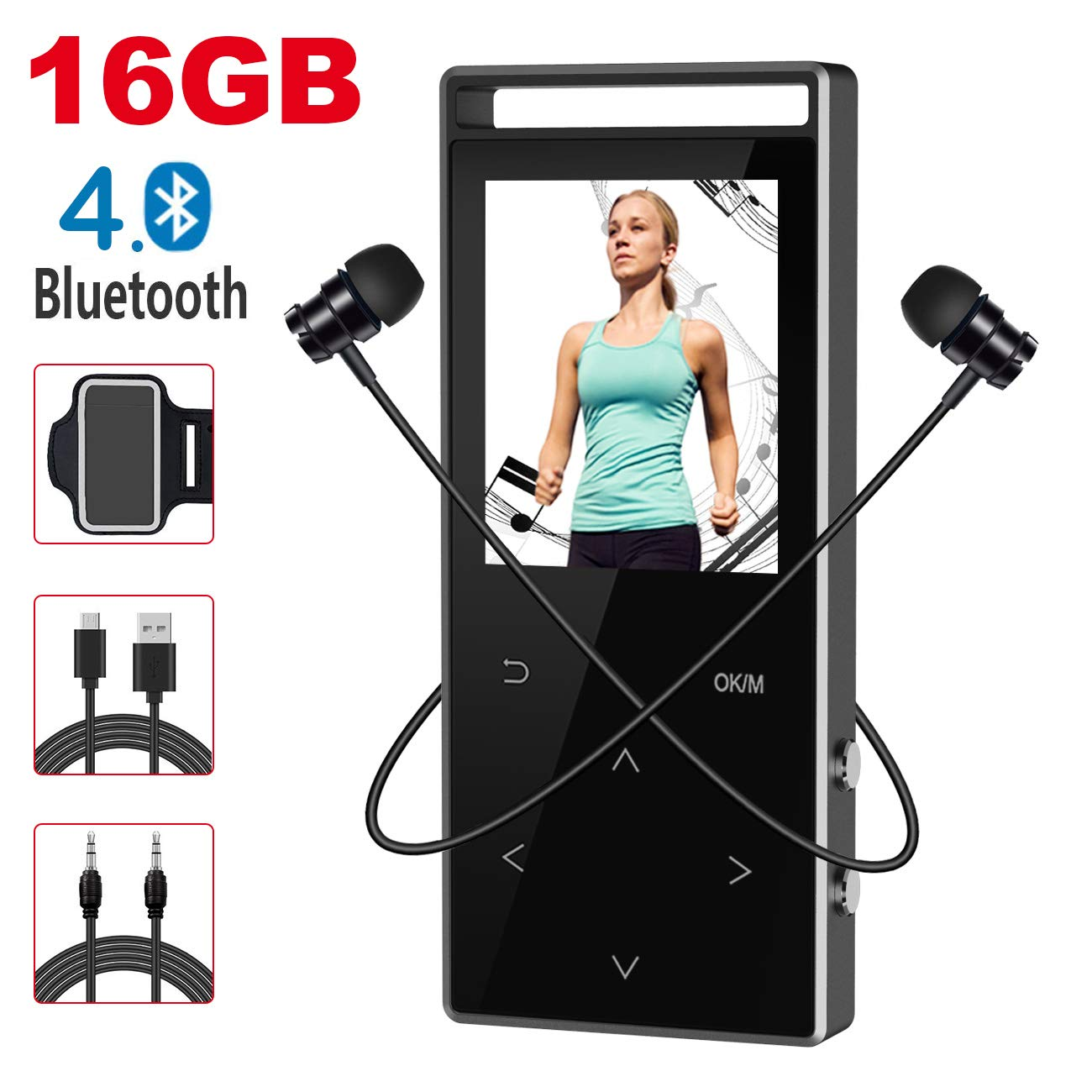 MP3 Player with Bluetooth,Digihero 16GB mp3 Player with FM Radio/Voice Recorder/Pedometer, Lossless Sound,60Hours Playback,HD Sound Quality Earphone, with Earphone Armband for Sport Running New 2018