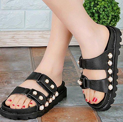 Sommerschuhe mit schweren Boden Sandalen und Pantoffeln Dame Perle Schnalle Mode Schuhe black