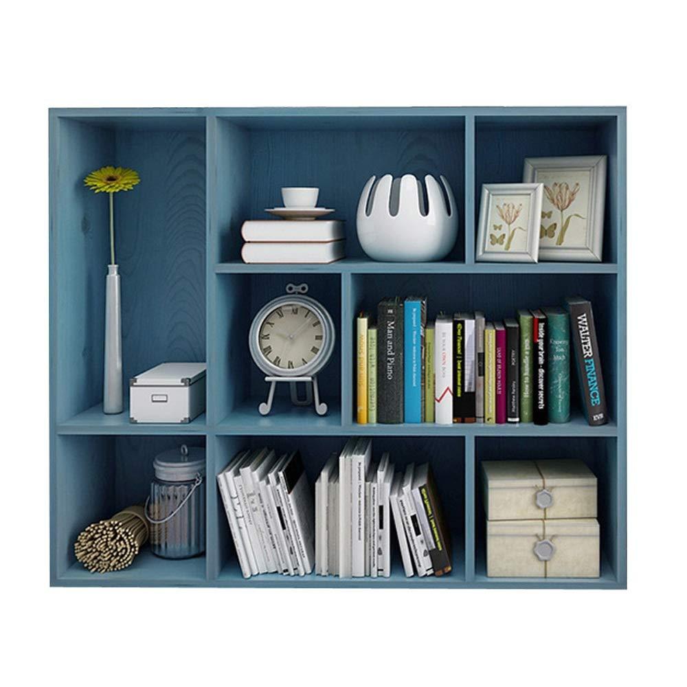 オープンシェルフラック 3階建ての8グリッドオープンキューブと棚、自立型の本棚収納ユニットと飾り戸棚付きの本棚 - ブルー 書棚 オープンシェルフラック (色 : 青, サイズ : 96*24*80cm) B07S91M7T6 青 96*24*80cm
