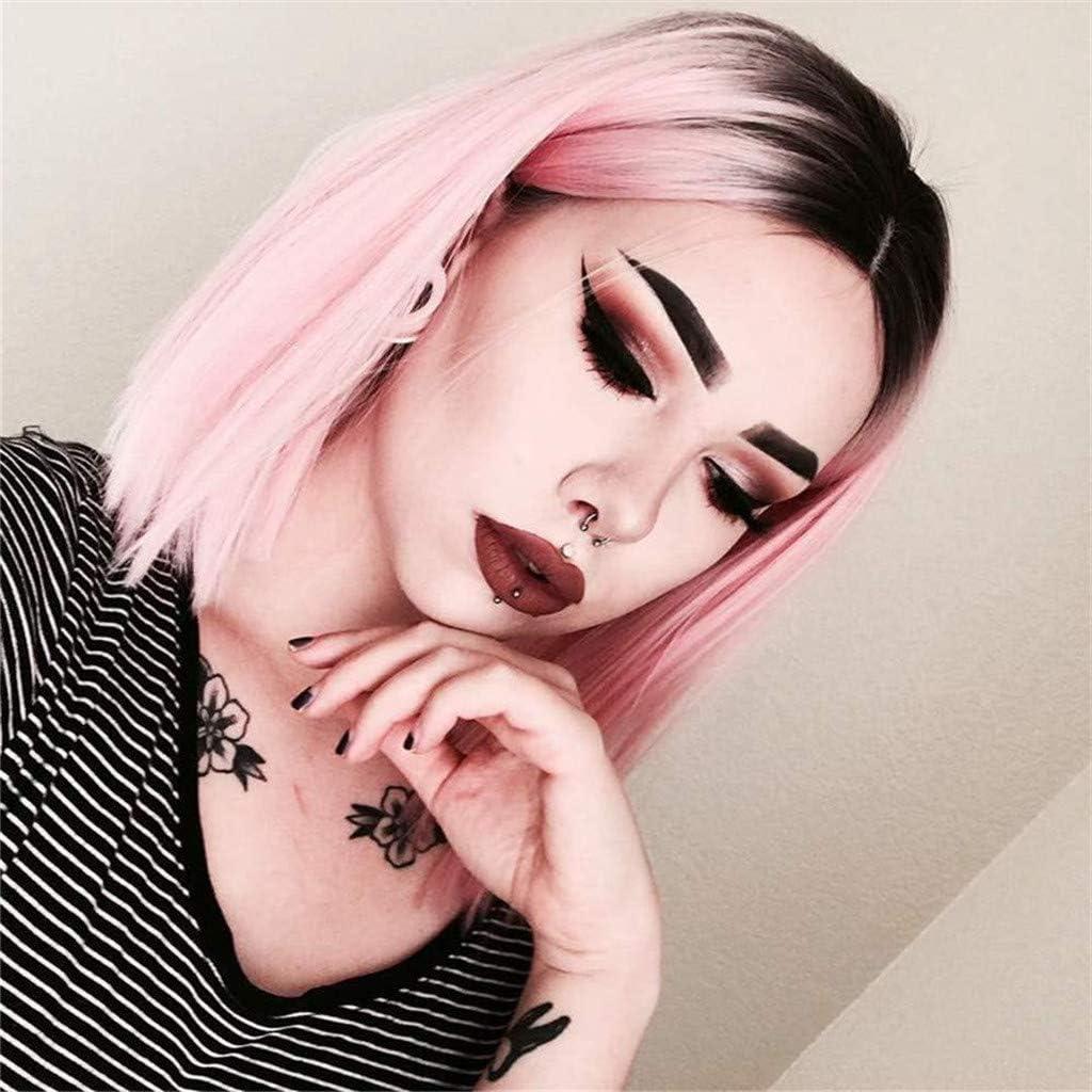Sansee Peluca de pelo corto y sexy, color rosa degradado ...