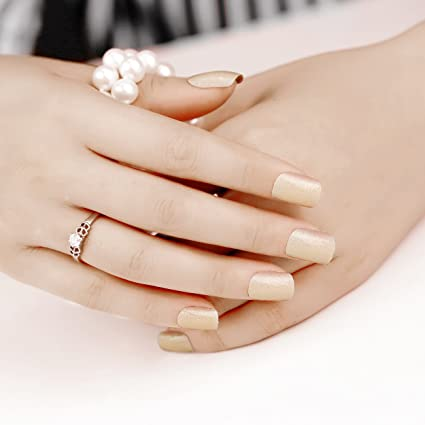 ArtPlus Uñas Postizas Falsas Artificial 24pcs Apricot Glitter Gel False Nails with Glue Full Cover Medium