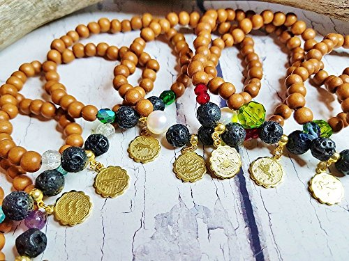 Essential Oil Diffuser Chakra Bracelet ~ Zodiac, Birthstone Charm Bracelet ~ Gemstone & Black Lava Stone Wood Bead Bracelet