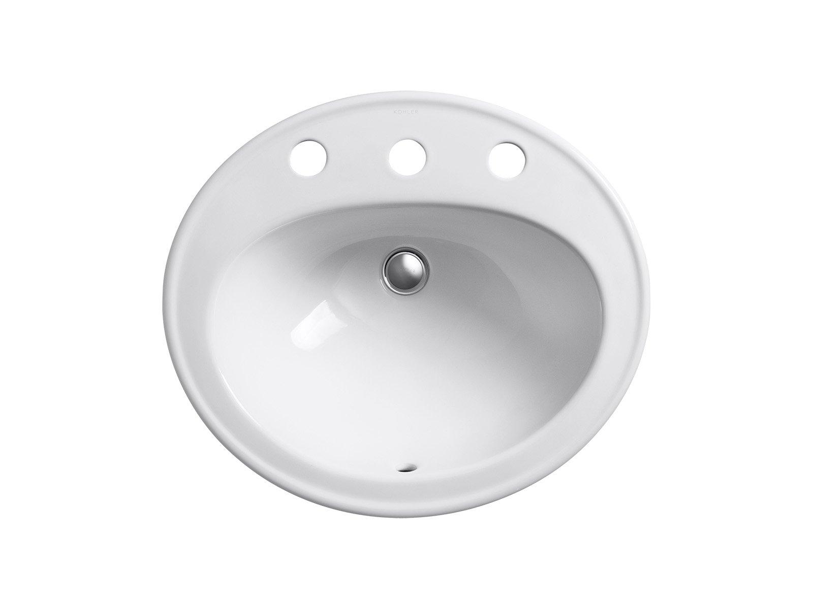 KOHLER K-2196-8-0 Pennington Self-Rimming Bathroom Sink, White by Kohler (Image #2)