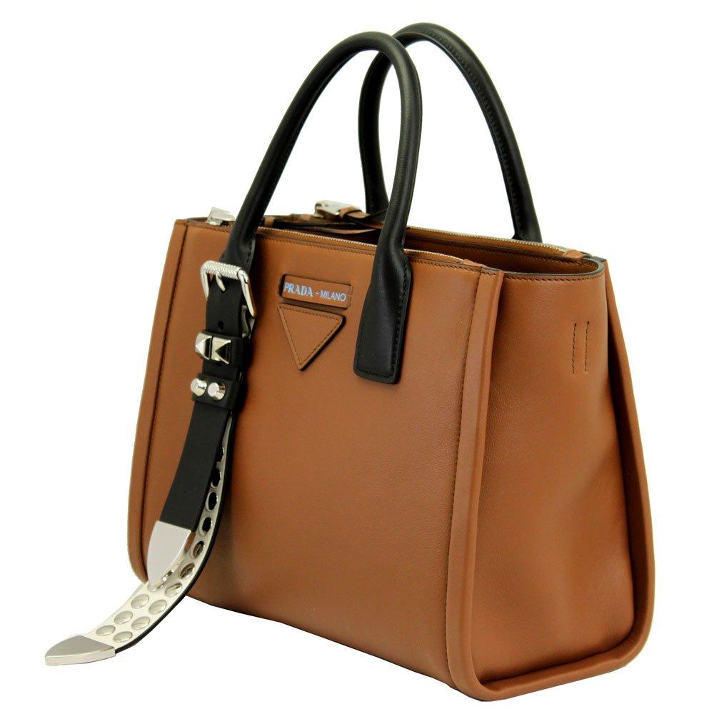 e9f3765fbbc3 Amazon.com: Prada Concept brown leather Handbag With Shoulder Strap 1BA175  Cognac+Bianco: Clothing