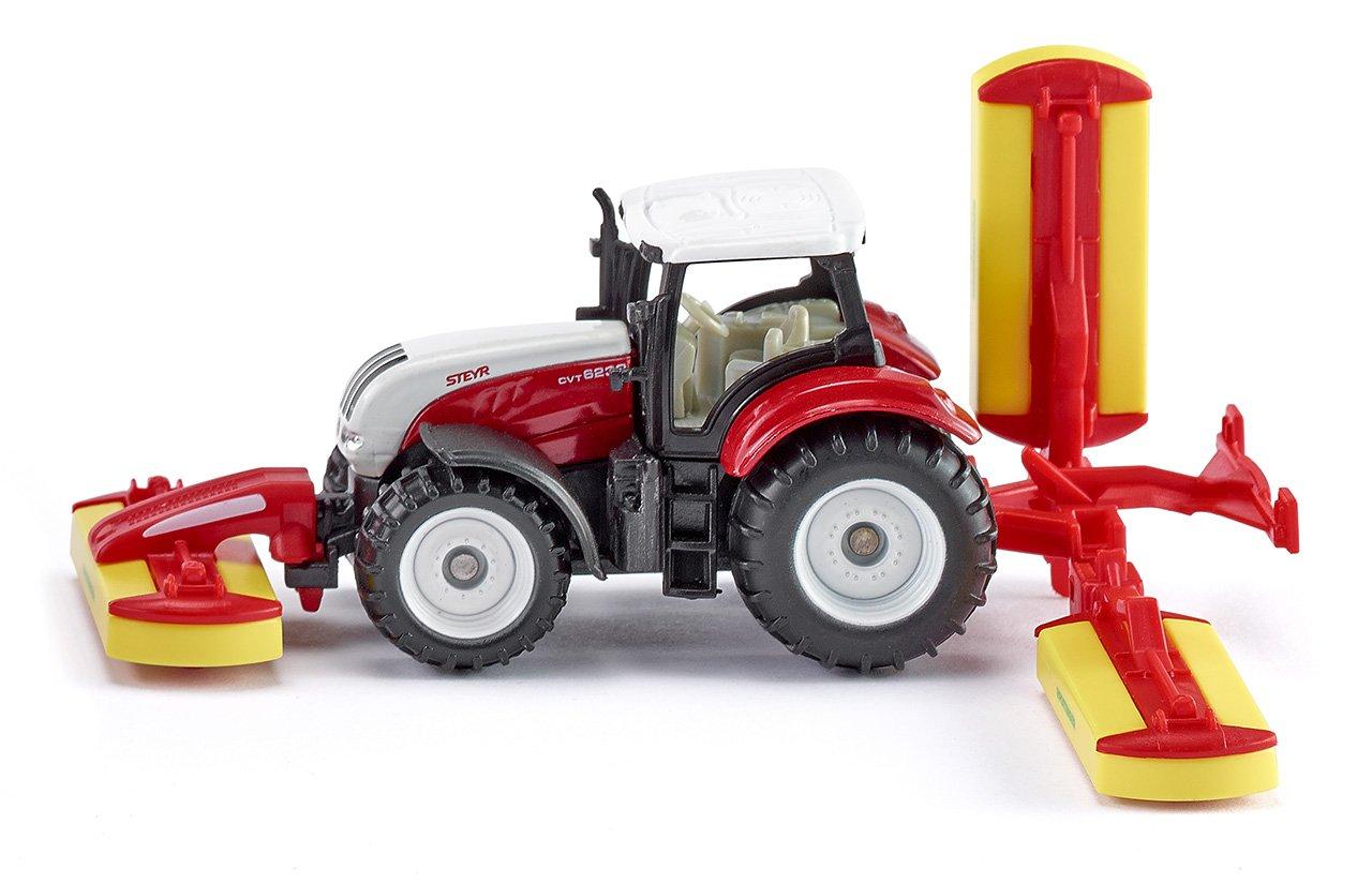 Steyr Traktor mit P/öttinger M/ähwerkskombination Rot SIKU 1672 Spielzeugfahrzeug f/ür Kinder Metall//Kunststoff