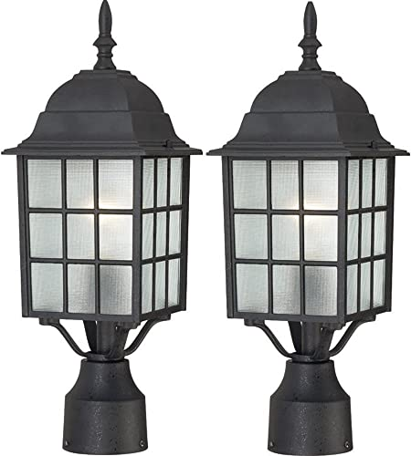 One Light Post Lantern 100 Watt A19 Max. Frosted Glass Textured Black Outdoor Fixture Textured Black, 2 Pack