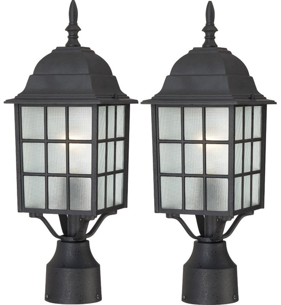 Nuvo Lighting 60/4909 Adams One Light Post Lantern 100 Watt A19 Max. Frosted Glass Textured Black Outdoor Fixture (Textured Black, 2 Pack) by Nuvo