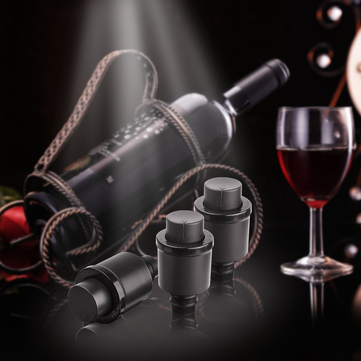 Vacuum Wine Stopper and Champagne Stopper with a Built-In Pressure Pump Creates Sealed Environment to Preserve Wine and Champagne Longer Freshness, ABS &FDA Silicone Stoppers, 3PCS, E4go