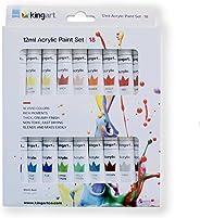 KINGART 506B-18 Studio Acrylic Paint, 12ml (.4oz), Set of 18 Colors, Assorted