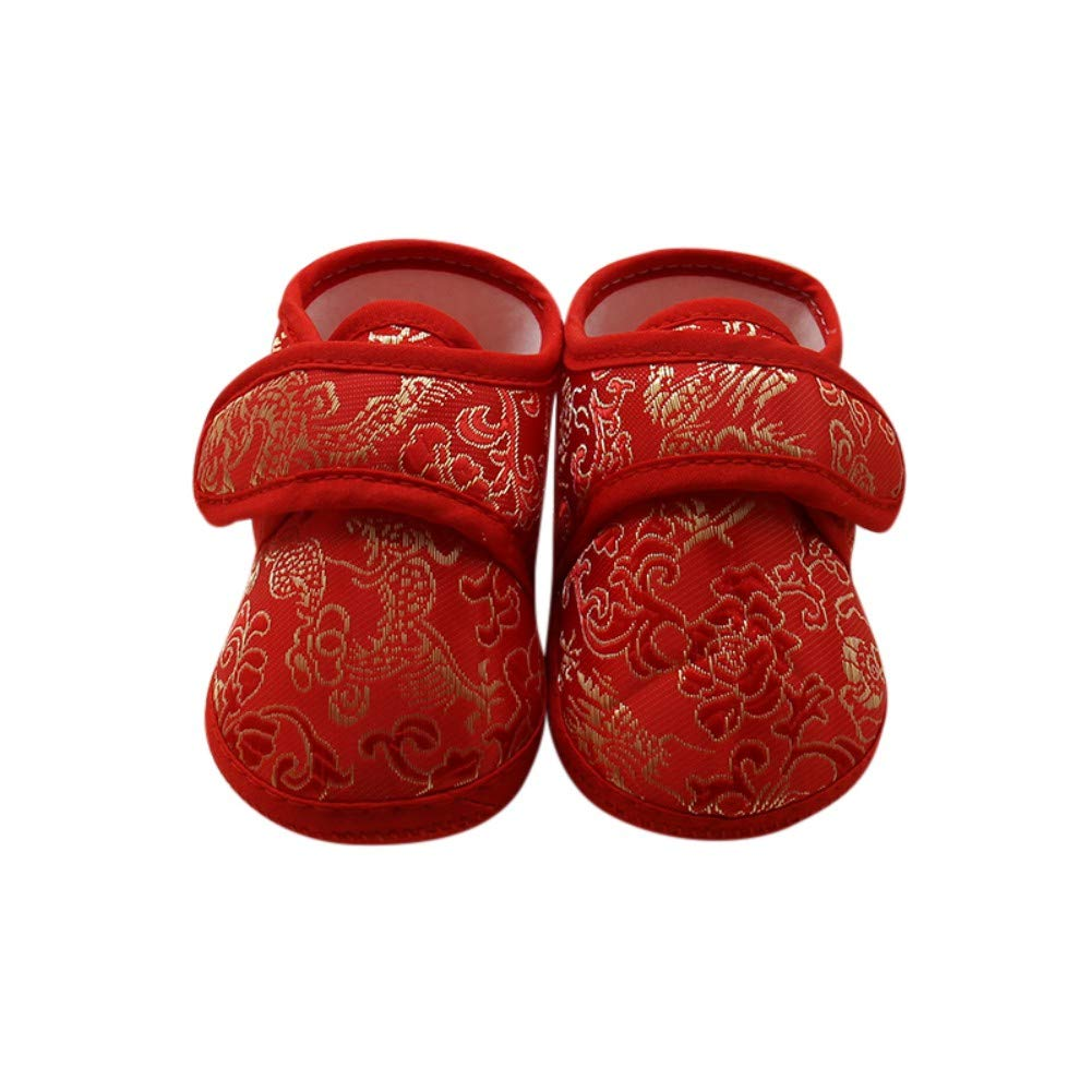 ESHOO Infant Toddler Baby Soft Sole Prewalker Slipper Crib Shoes Chinese New Years Flower Asian Sock Shoes