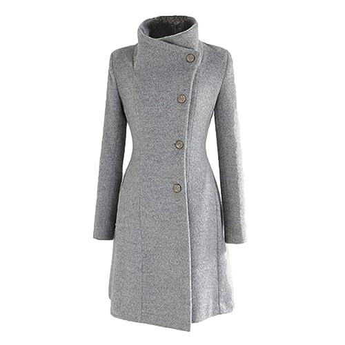 Nonbrand, Abrigo para mujer, doble botonadura, chaqueta larga de invierno estilo Vintage, tallas L M...
