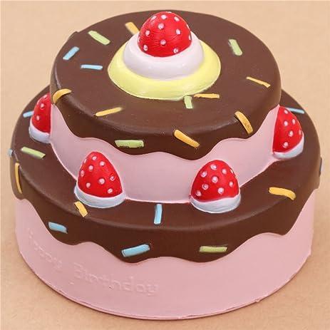 Amazoncom Cute happy birthday cake brown icing squishy kawaii