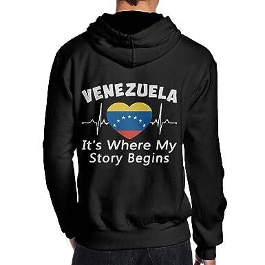 JHDKDGH-N Venezuela Its Where My Story Begins Back Print Long Sleeve Hoodie for Men