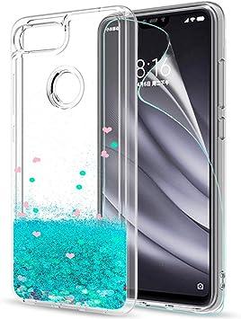 LeYi Funda Xiaomi Mi 8 Lite Silicona Purpurina Carcasa con HD ...