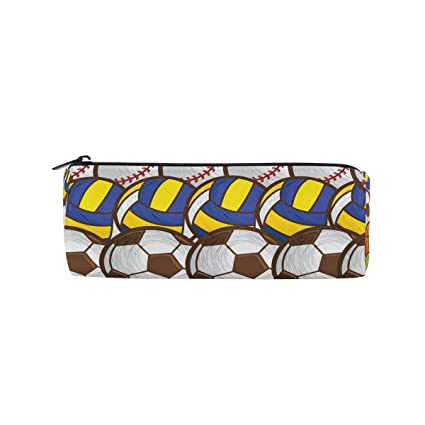 1736958bf6 Image Unavailable. Image not available for. Color  TropicalLife Sport  Soccer Baseball Tennis Pencil Case with Zipper Pen Pouch Makeup ...